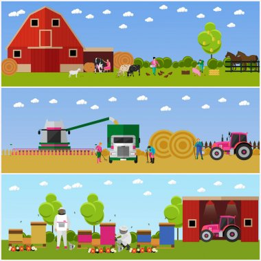 Vector banners of village life, flat design