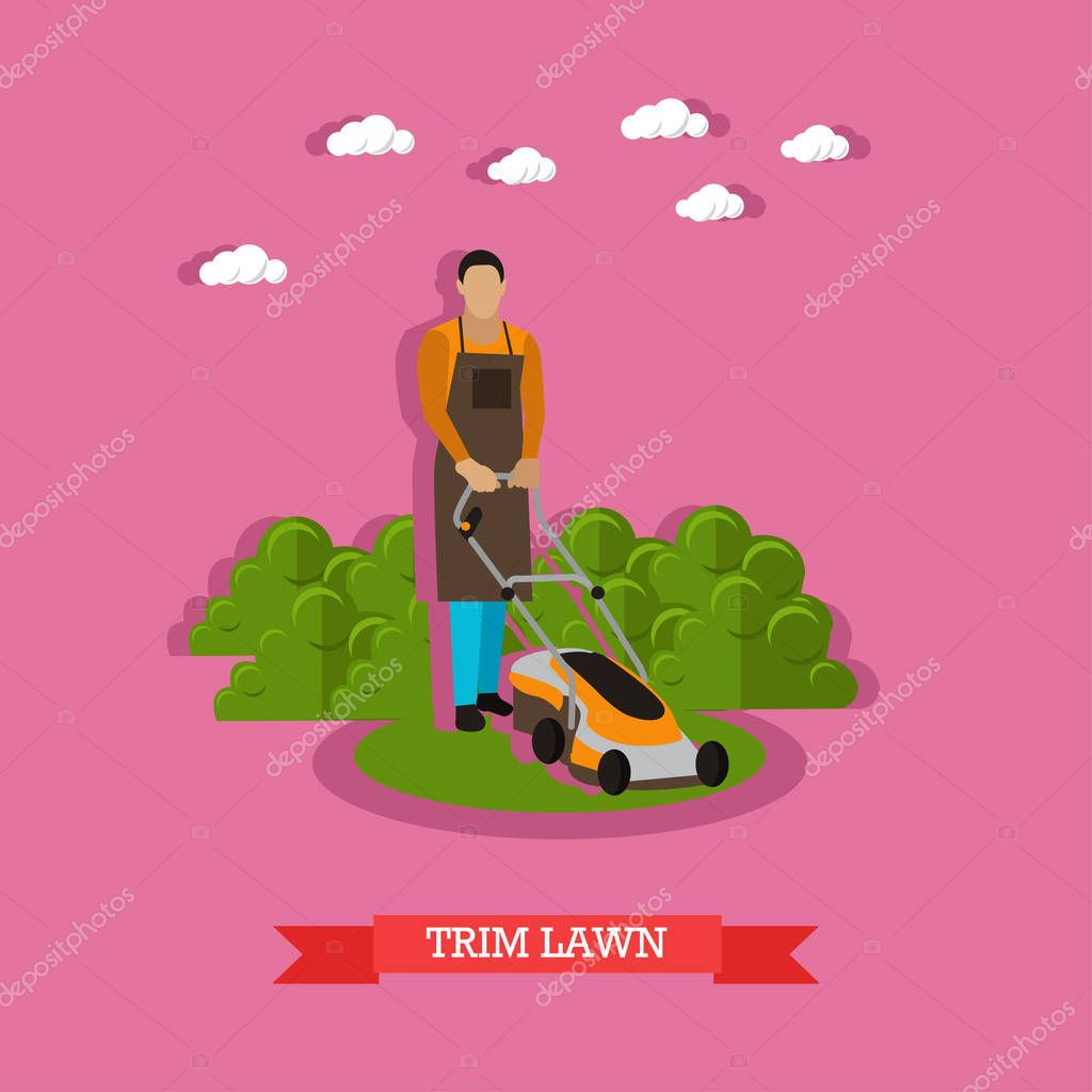 Gardener mowing the lawn with mower, flat design