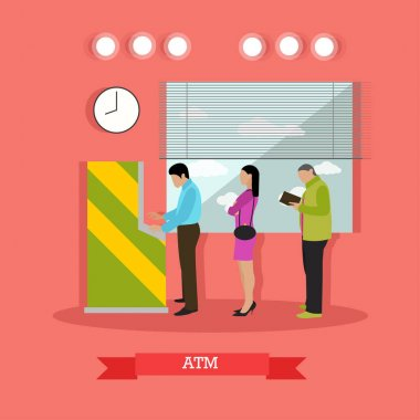 Vector illustration of ATM, people standing in queue for cash