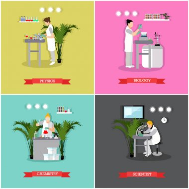 Vector set of banners, posters with different kinds of laboratories and people working there - biologists, chemists, physicists. Scientific research laboratory concept design elements in flat style. stock vector