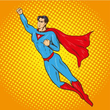 Vector illustration of flying up superman in retro pop art comic style. Superhero, savior of the world from injustice. clip art vector