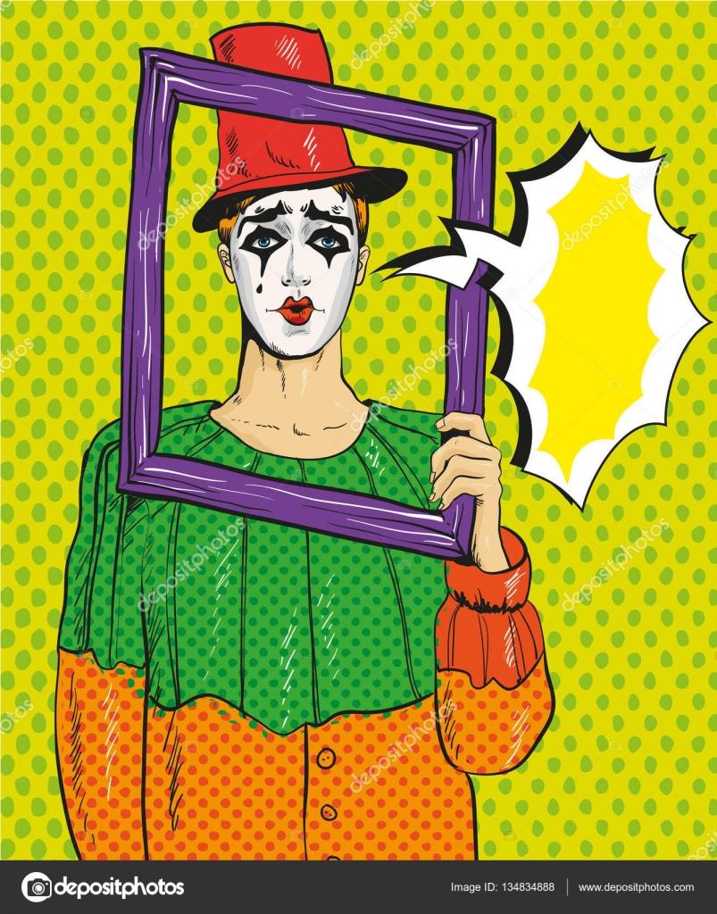 Vektor-Illustration von Pierrot, Bilderrahmen, Pop-Art-comic-Stil ...