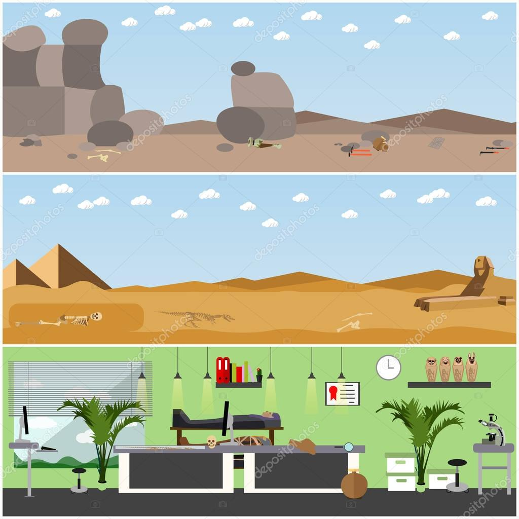 Vector set of posters, banners with archaeologists places, tools and equipment.