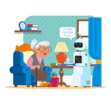 Vector illustration of home robot giving pills to grandmother