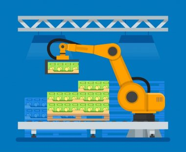 Vector illustration of industrial robots for palletizing food products