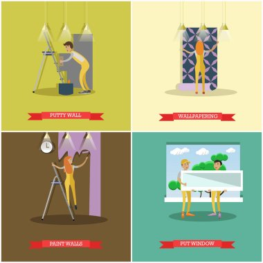 Vector set of construction and repairing house concept posters