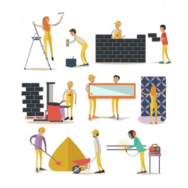 Vector set of construction workers isolated, flat style design elements