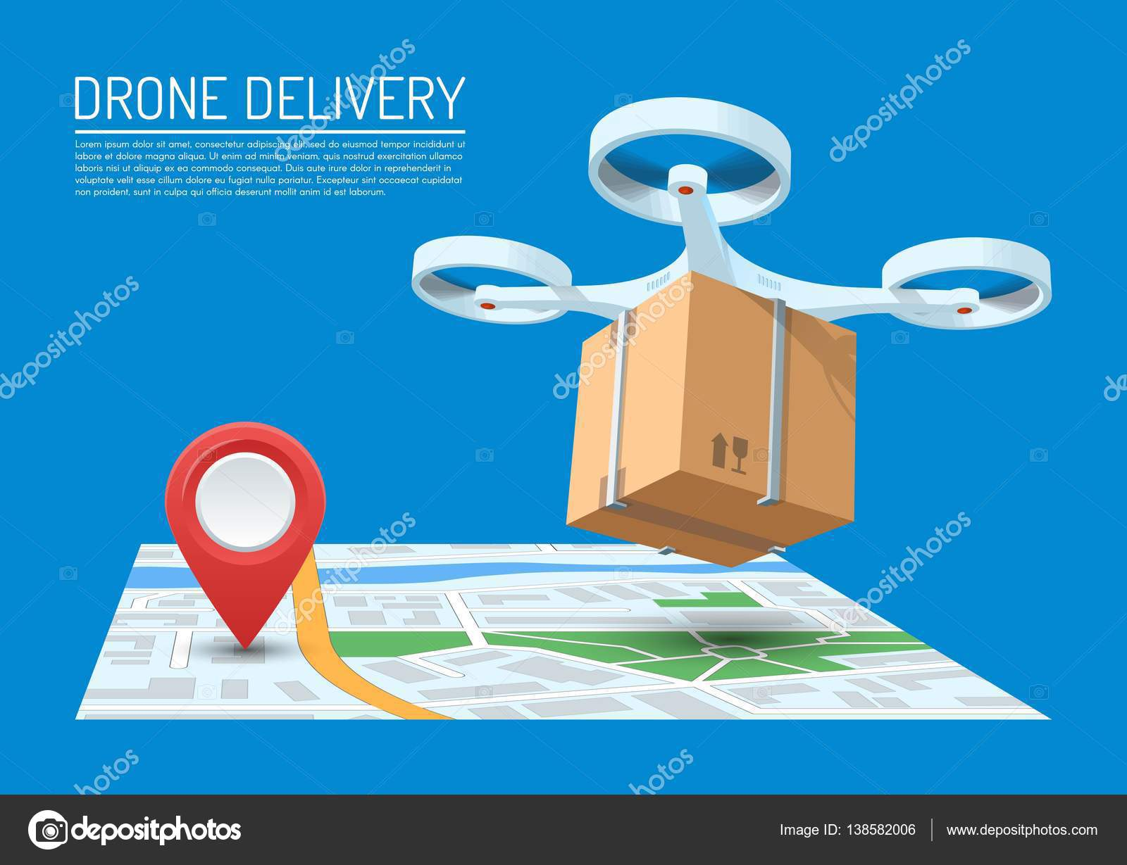 Drone Delivery Concept Vector Illustration Quadcopter Flying Over A Map And Carrying Package