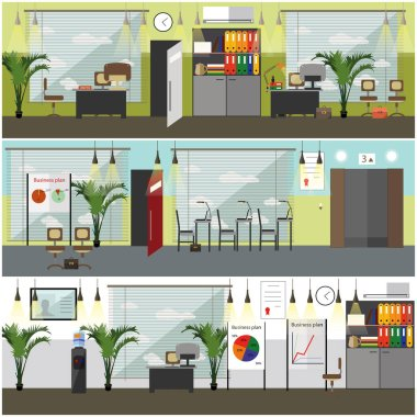 Office interior concept vector posters, banners in flat style.