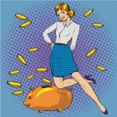 Vektorillustration von Frau und Sparschwein, Pop-Art-Stil