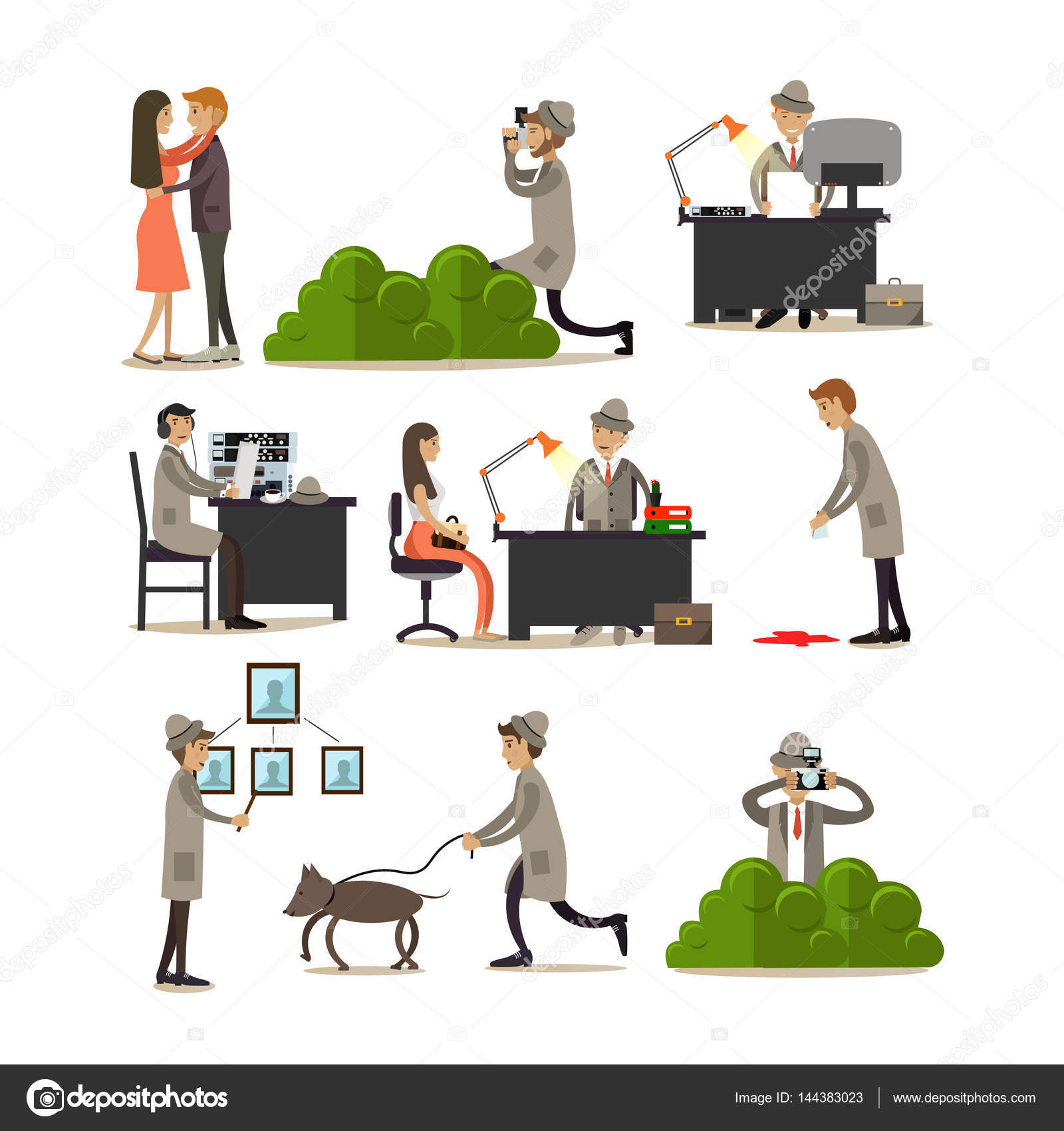 vector flat icons set of detective profession characters stock