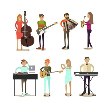 Vector flat icons set of musician characters