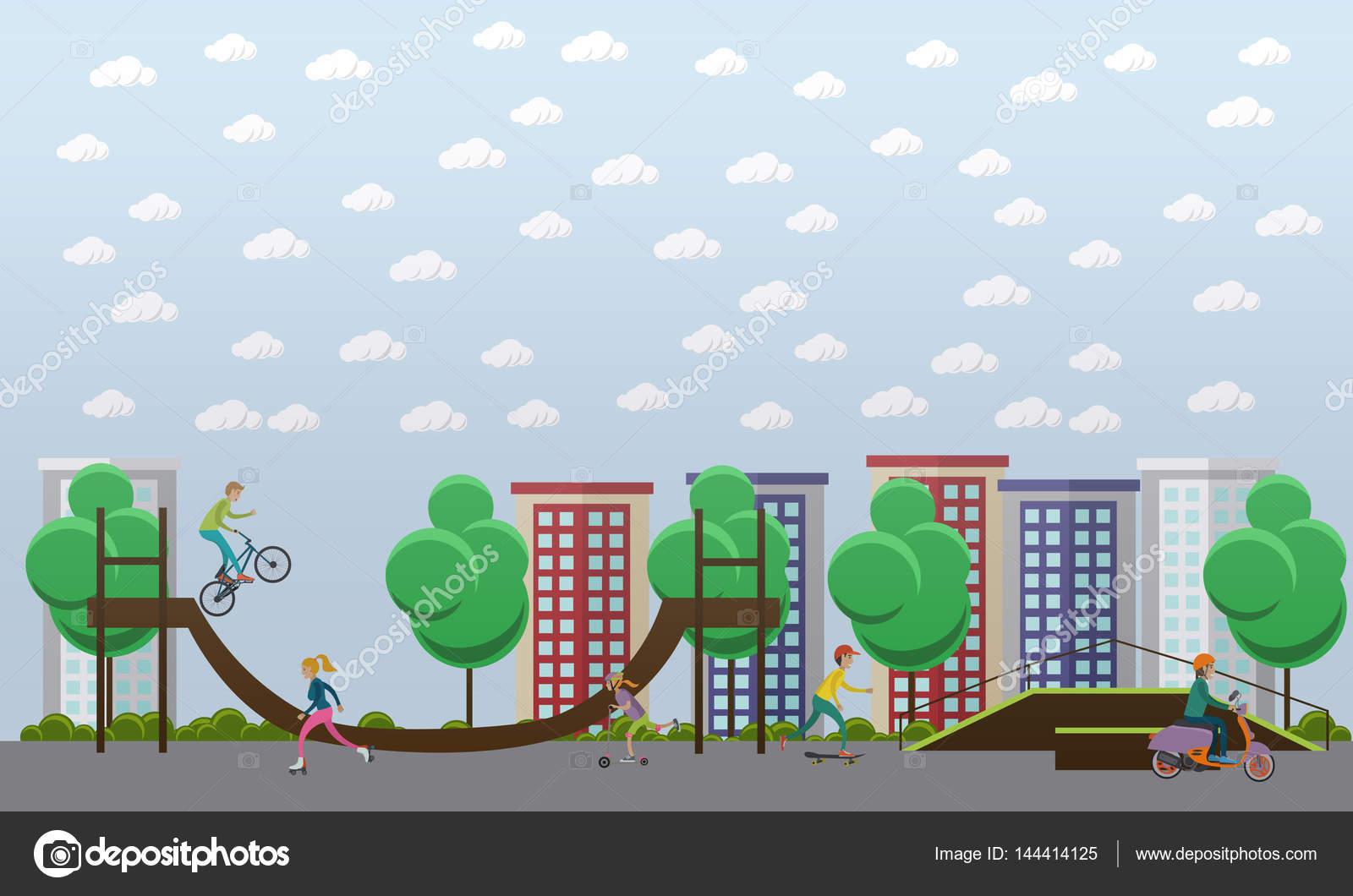 Skateboard Park Background – Clipart Cartoons By VectorToons