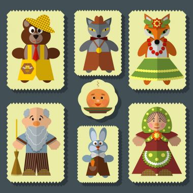 Vector set of The Bun russian folk fairy tale characters