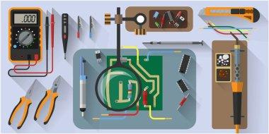 Vector tools set for soldering chips, flat design