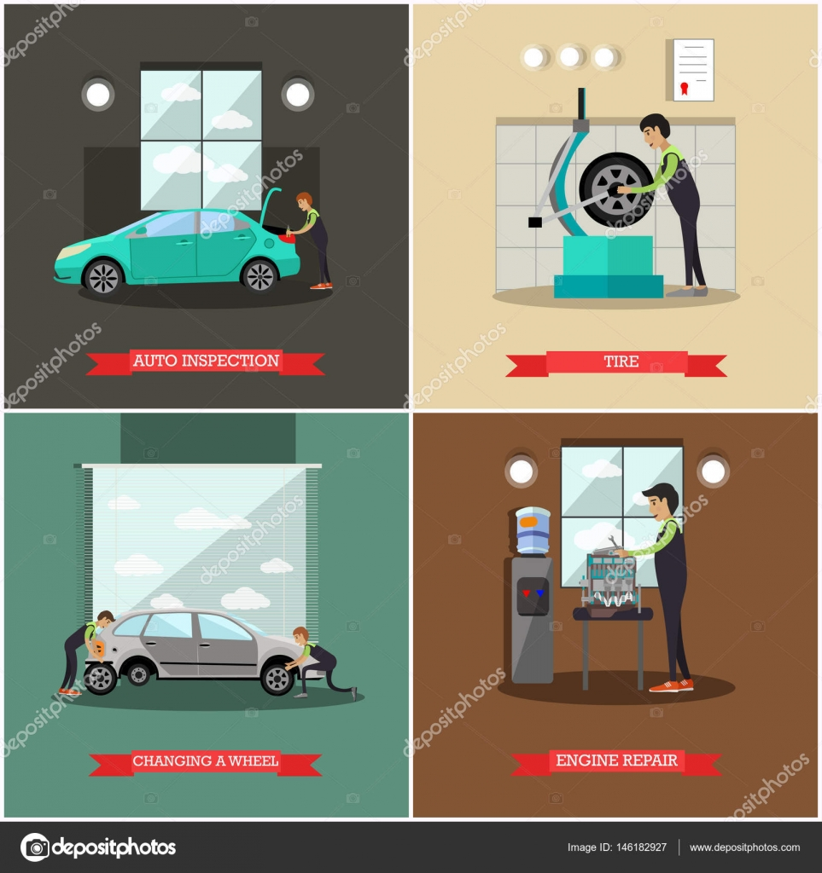 Conjunto de vectores de coches estación de servicio, reparación ...