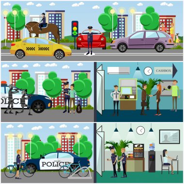 Vector set of police concept posters, banners in flat style