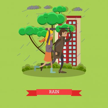 Rainy weather concept vector illustration in flat style