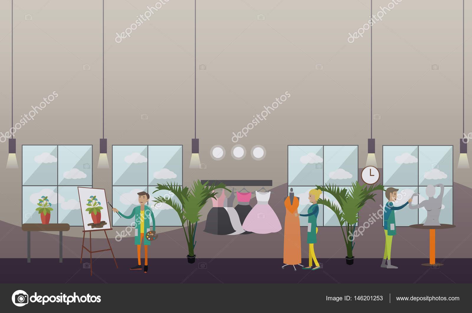 1d1544498509 Εικονογράφηση διάνυσμα επίπεδη στυλ ρούχα στυλίστας