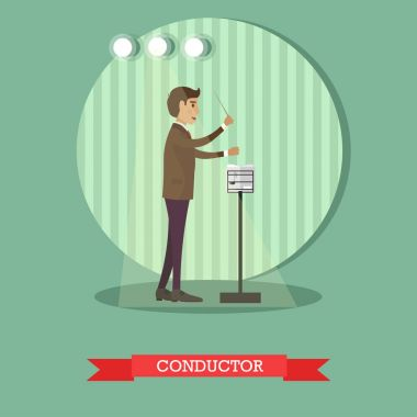 Vector flat style illustration of musical conducter with baton