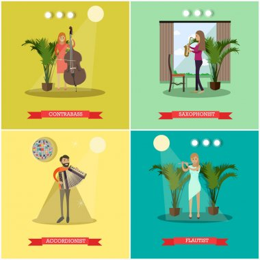 Vector flat posters set with musicians playing musical instruments