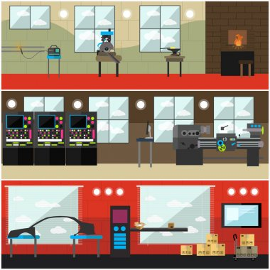 Vector set of factory interior posters, banners in flat style