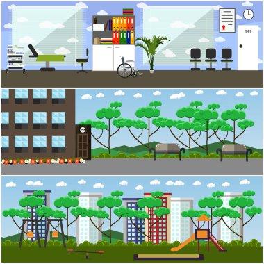 Vector set of maternity hospital and kindergarten interior flat posters