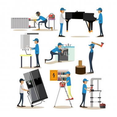Vector flat icons set of workers profession people isolated