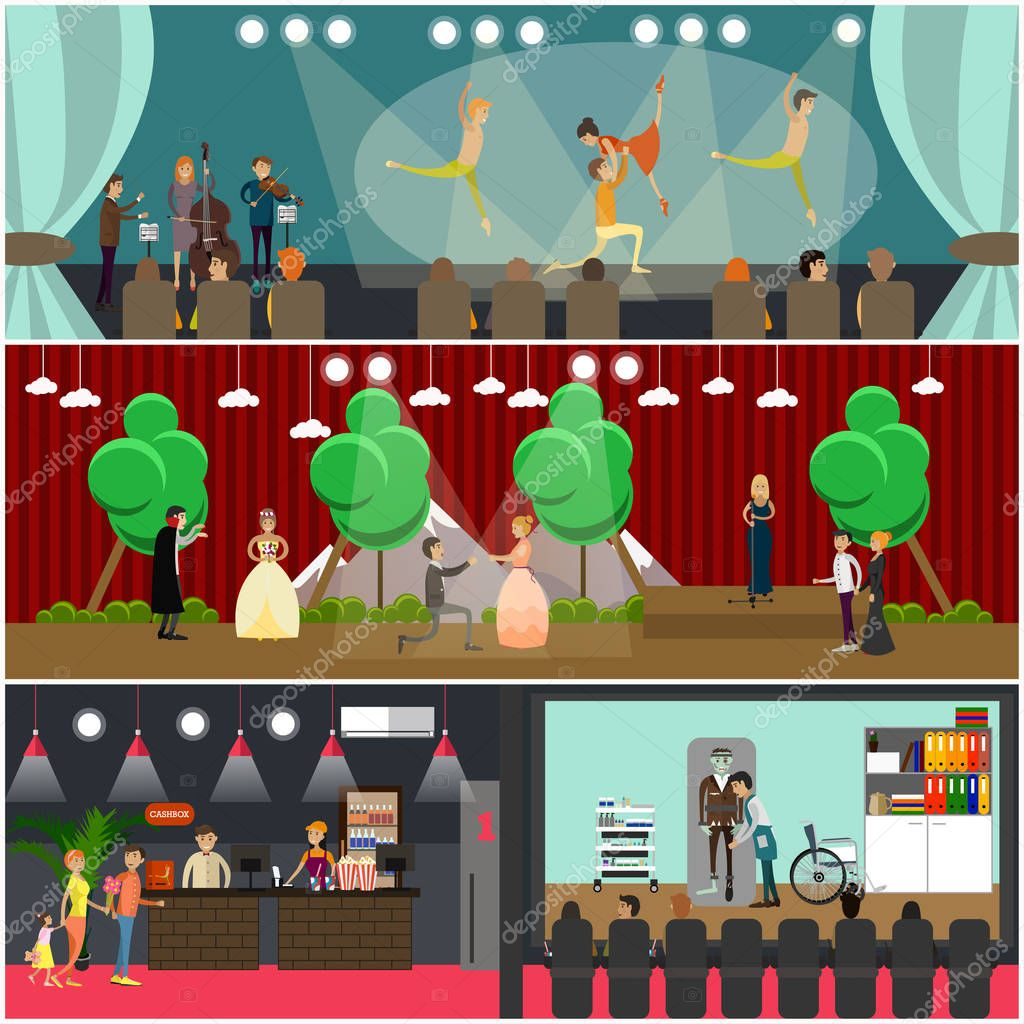 Vector set of opera art concept posters. Ballet and Opera performances, Cinema art design elements in flat style. stock vector