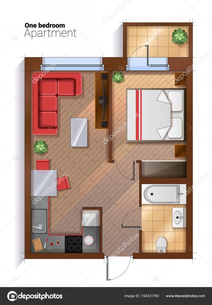 Moderne 1 slaapkamer appartement bovenaanzicht vectorillustratie ...