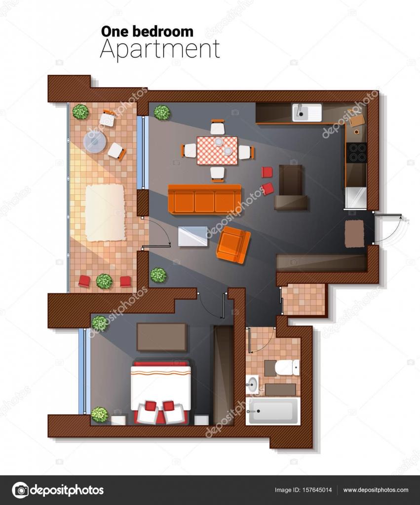 Vectorillustratie bovenaanzicht van moderne 1 slaapkamerappartement ...