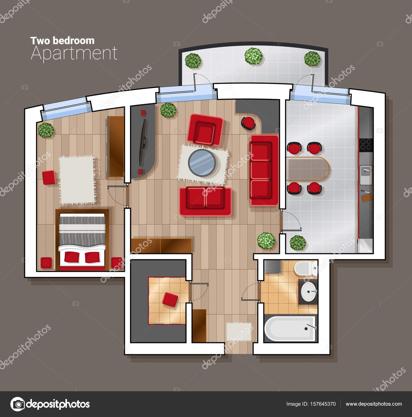Vector bovenaanzicht plattegrond van de kamer van het huis. Moderne ...