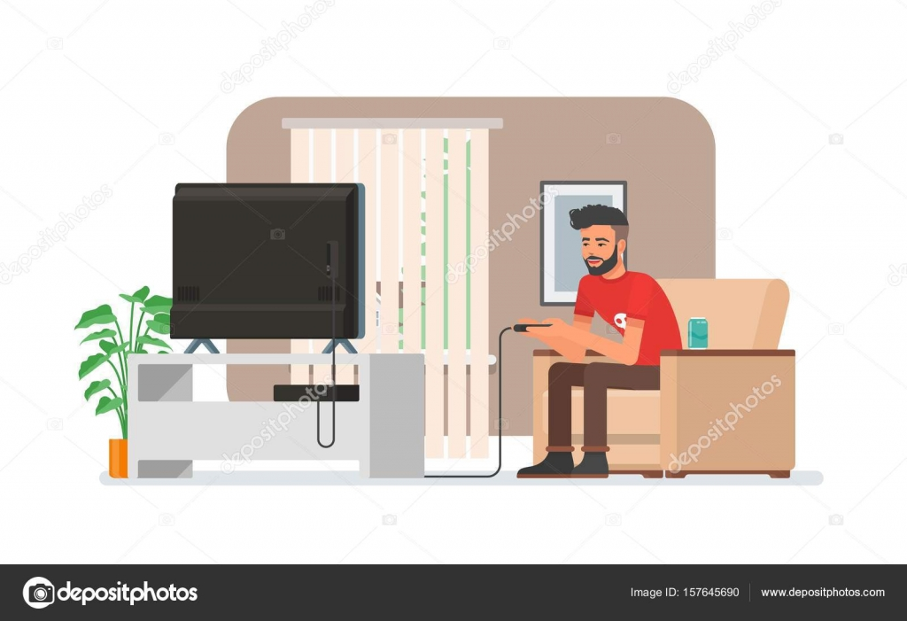 Smiling man playing video game console at home. Vector illustration ...