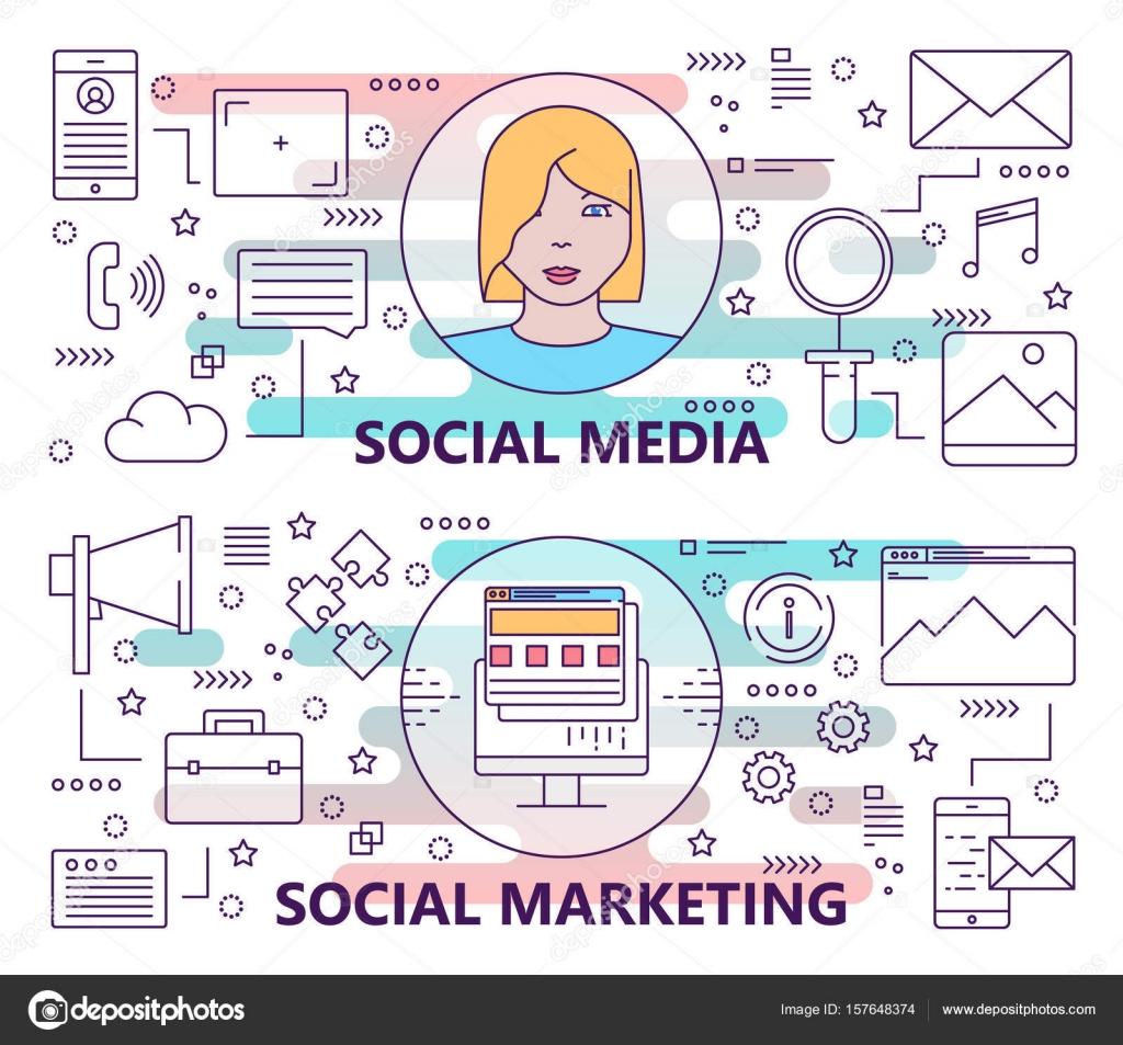 Vektor Eingestellt Von Bannern Mit Social Media Und Social Marketing