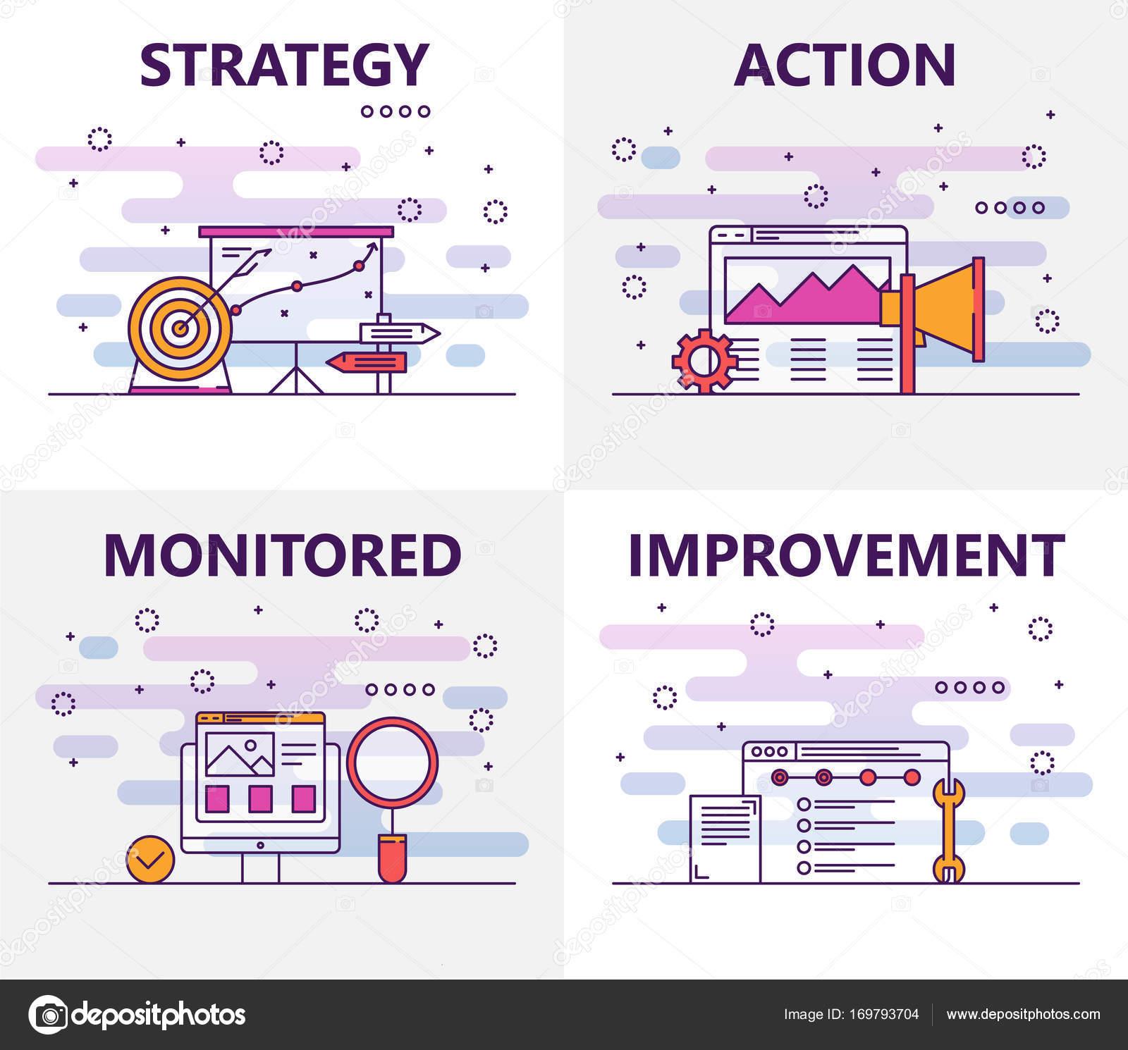 Banners de concepto de vector línea fina diseño plano acción plan ...