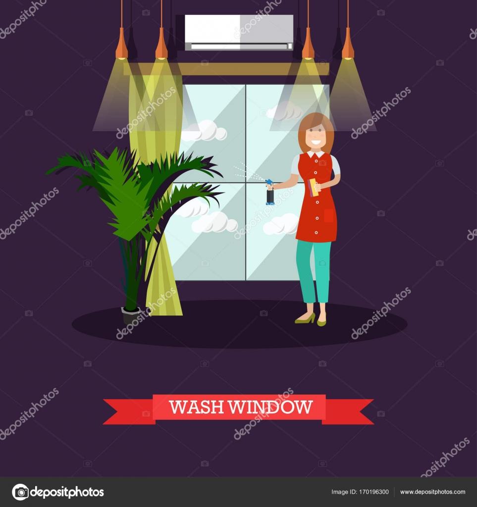 Vektor Illustration Flache Putzfrau Waschen Fenster Stockvektor