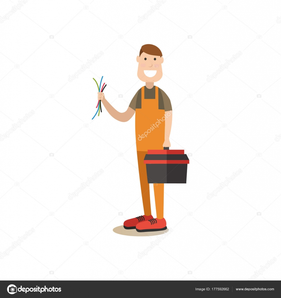 Professional worker vector illustration in flat style — Stock Vector ...