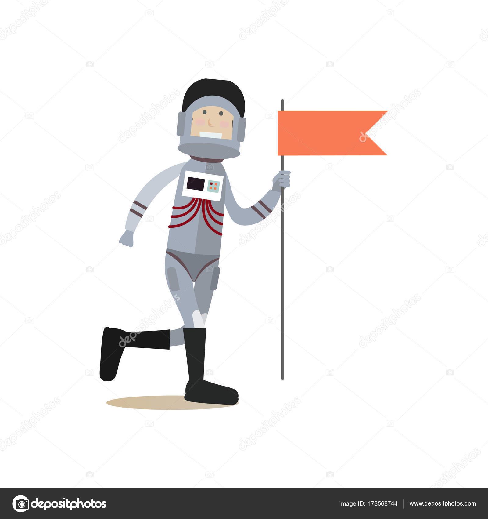 Astronauta con piatto di vettore della bandiera rossa u vettoriali