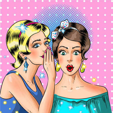 Vector pop art women whispering, comic book style