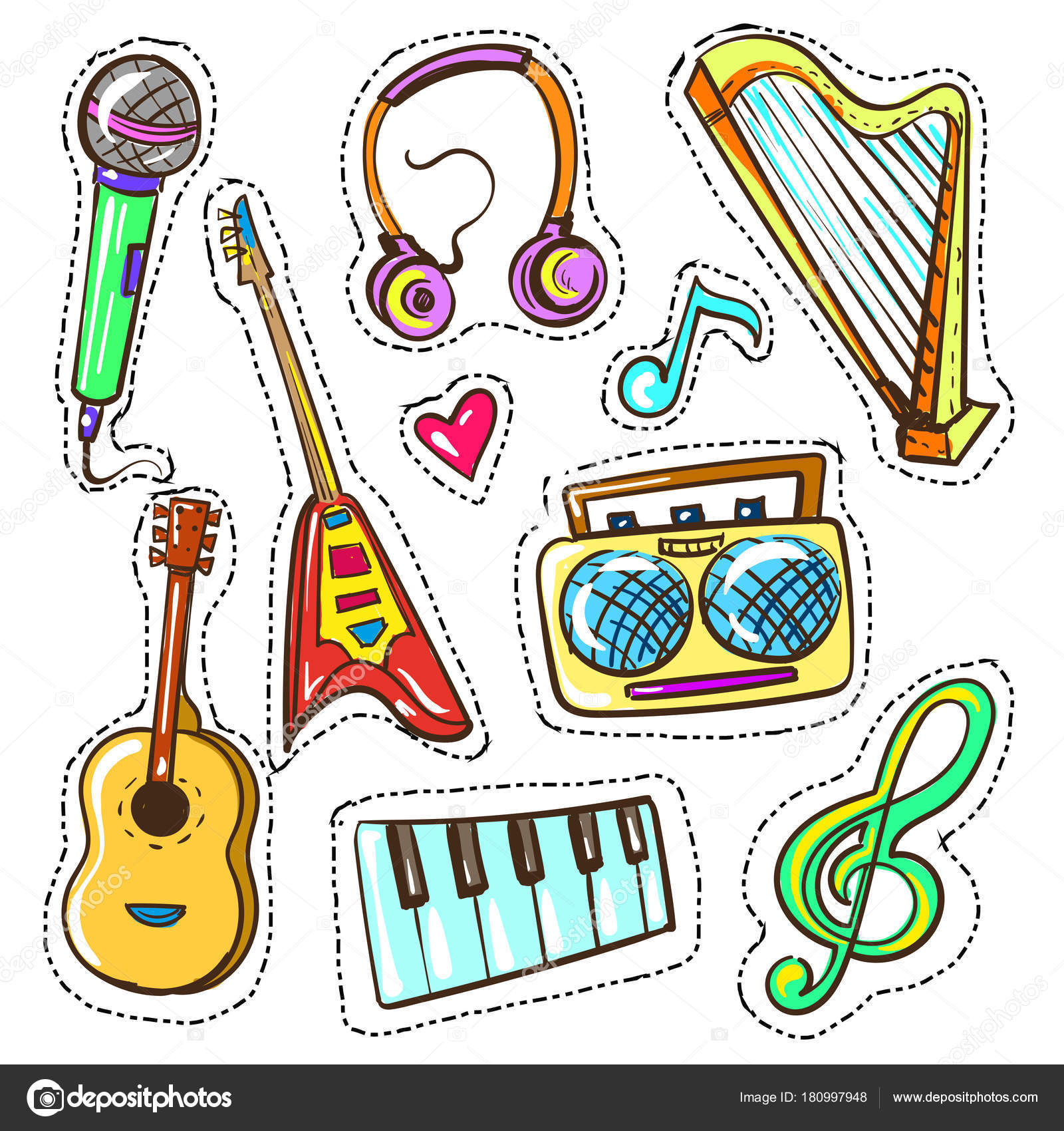 Vector Instrumentos Dibujo Vector Mano Dibujada Color Musical
