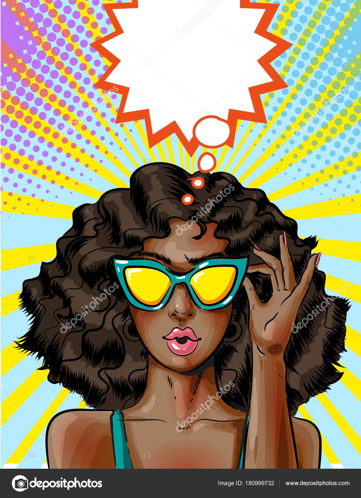 a102bdec1 Ilustração em vetor de jovem Africano-Americana em óculos de sol amarelos.  Garota pin-up sexy no estilo quadrinhos retro pop art — Vetor de ...
