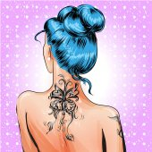 Vektor Pop Art Pin-up Mädchen mit Tätowierung