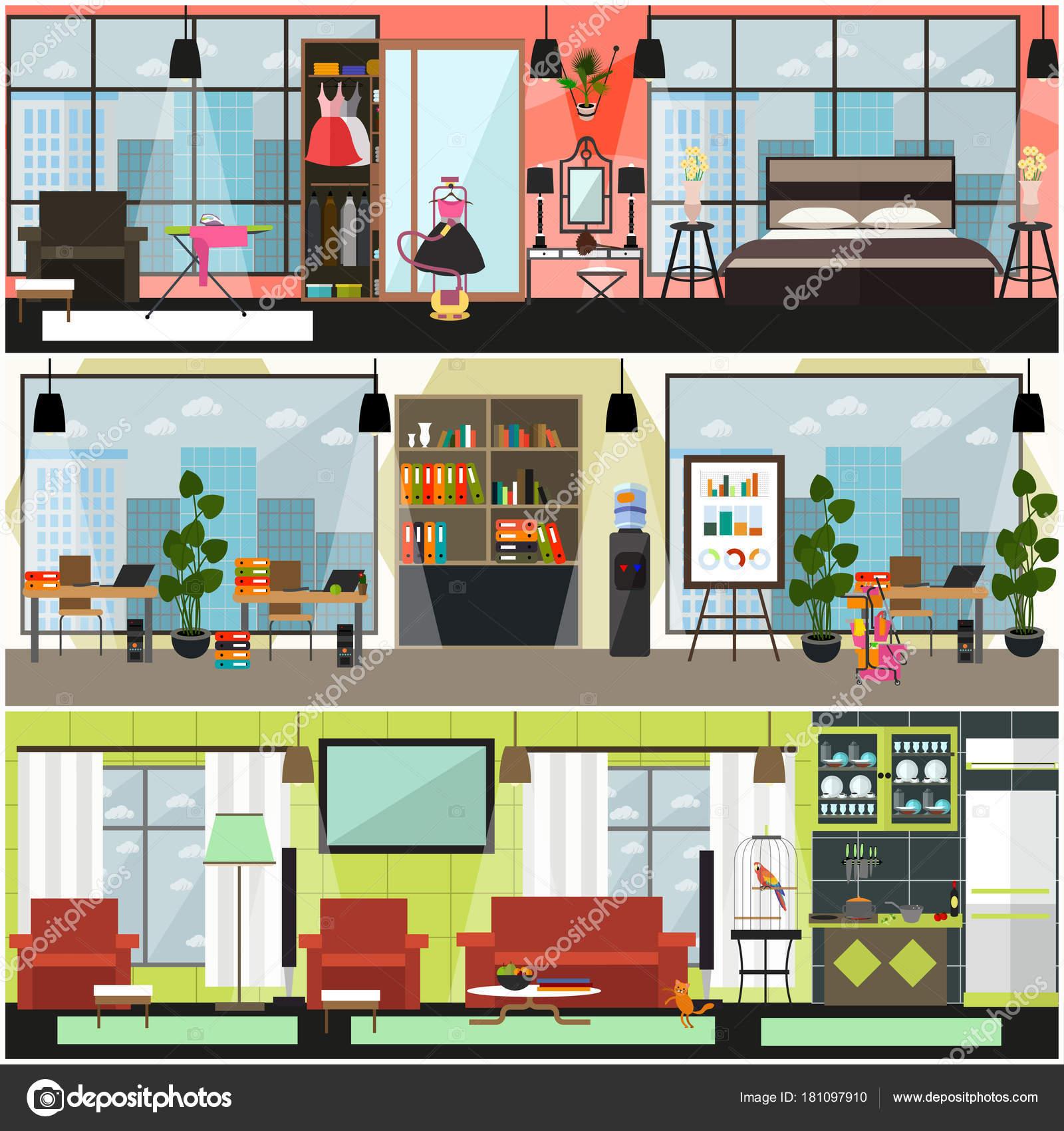 Vector huis en interieur poster, spandoek set schoonmaken van ...