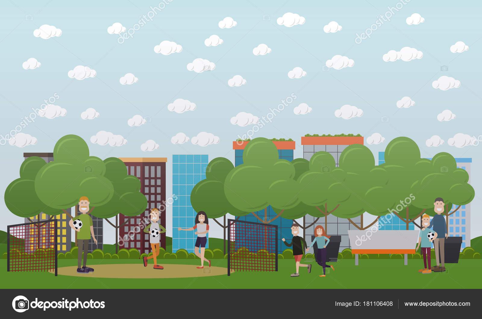Ilustracion De Vector Concepto De Juegos De La Familia En Estilo