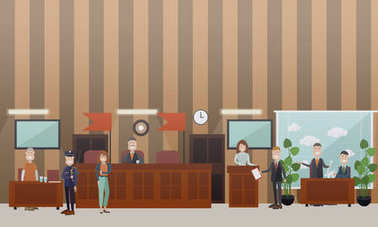 Court hearing concept vector flat illustration