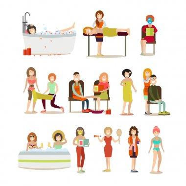 Group of people enjoying spa procedures vector flat icon set