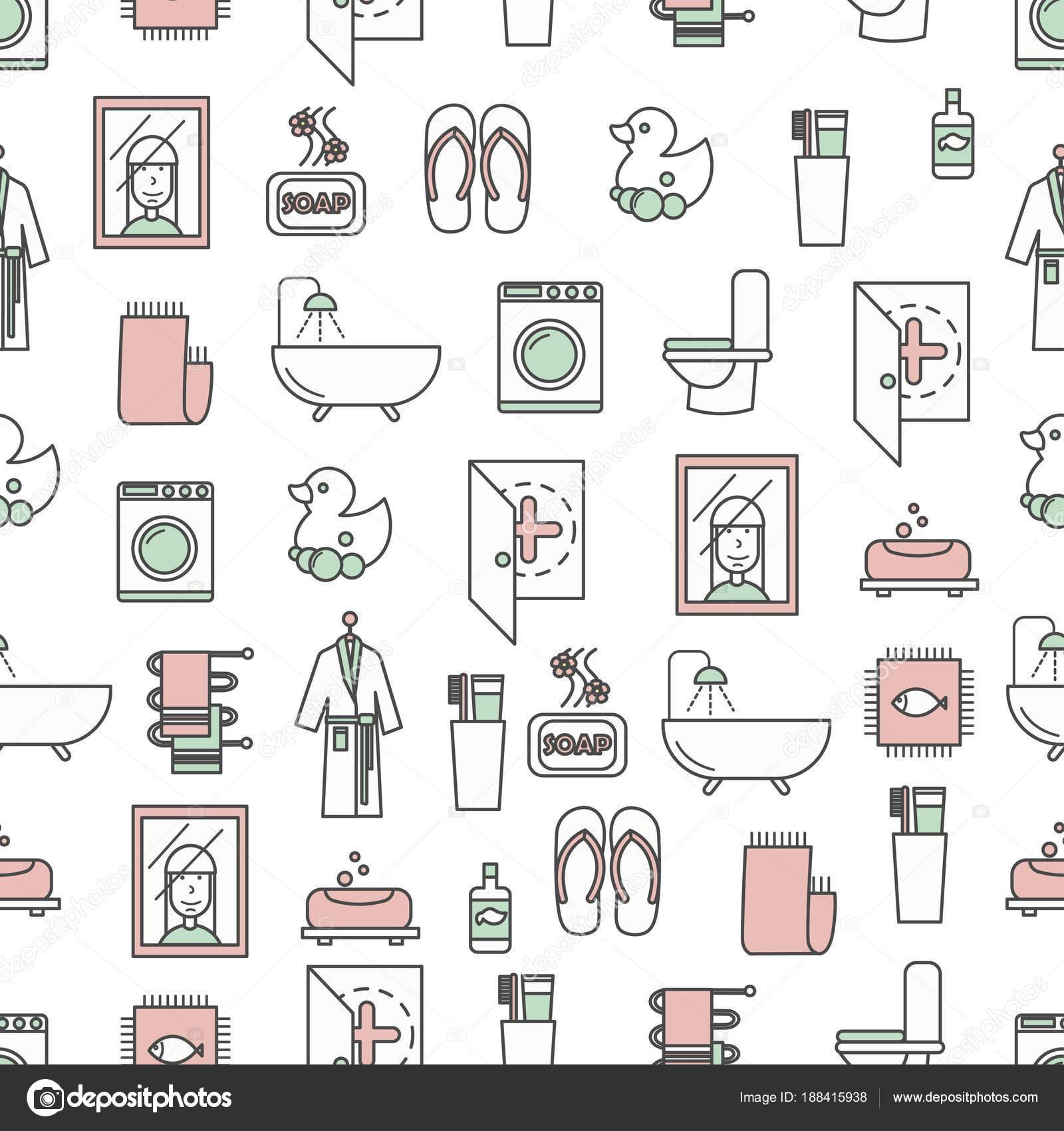 Płaska Linia Wektor Sztuki łazienka Wzór Grafika Wektorowa