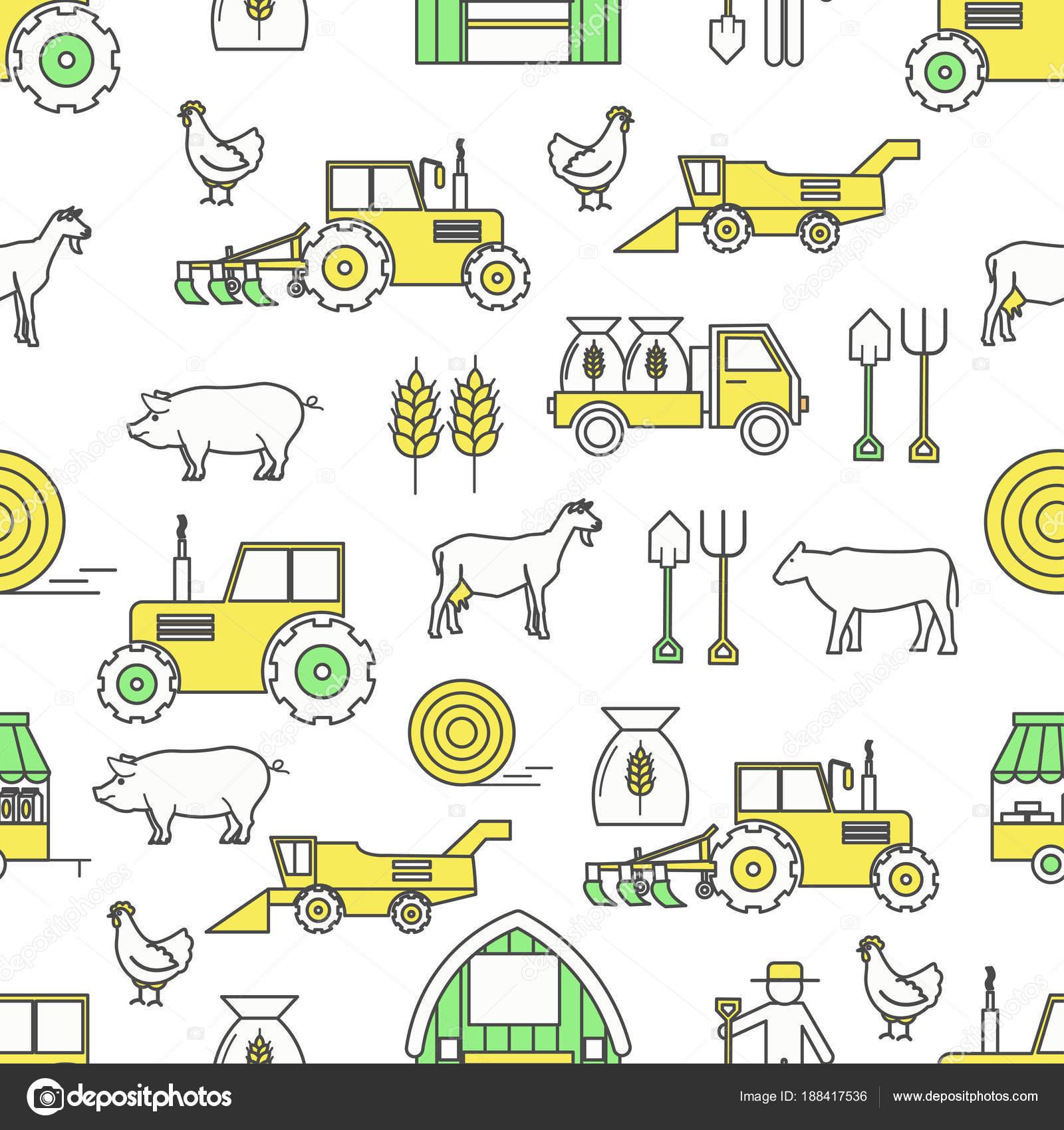 Vector plano línea arte agrícola de patrones sin fisuras — Vector de ...