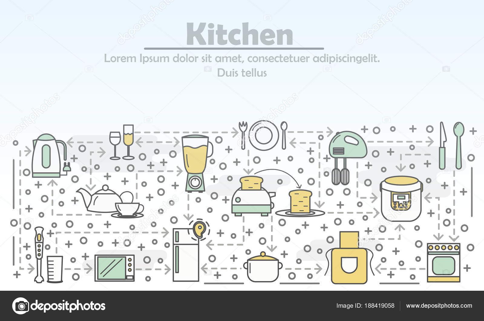 Moderne Kunst Keuken : Keuken reclame vectorillustratie platte lijn kunst u2014 stockvector
