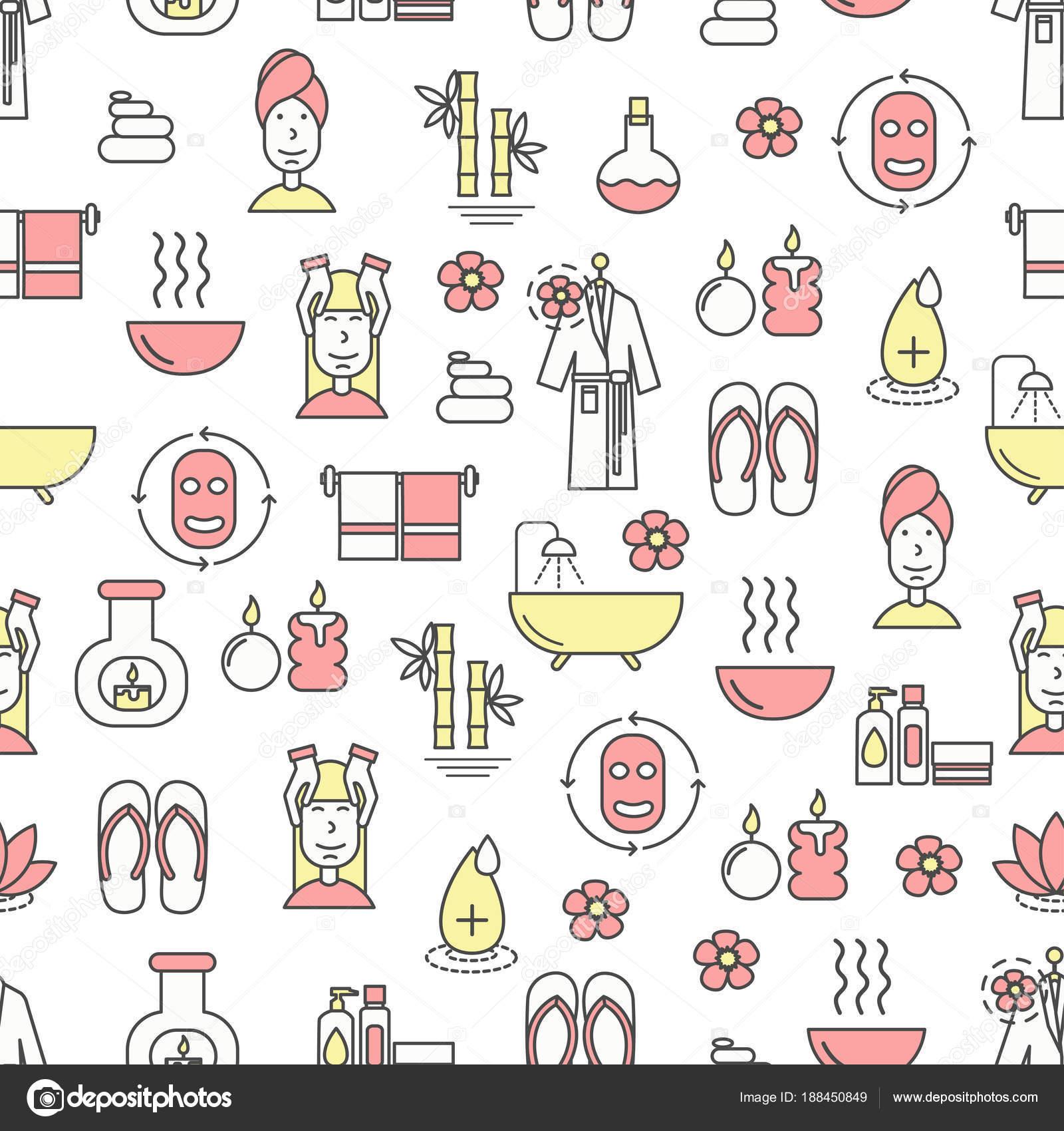 Vector plano línea arte spa y belleza de patrones sin fisuras ...